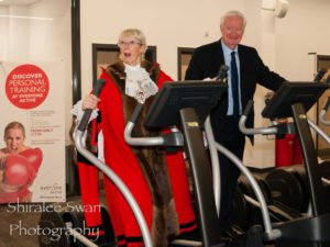 Mayor of Havering Cllr Linda Van den Hende tried out the cross trainer with Havering Council leader Roger Ramsey
