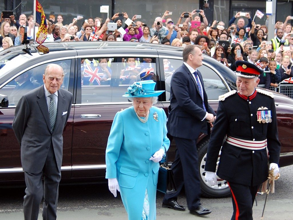 Royal visit to Chadwell Heath, the Queen worn light blue she was accompanied by Prince Philip and Lord Peter