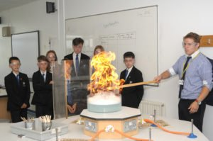 large flames in a controlled experiment in the science lab