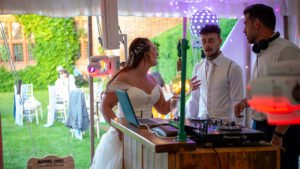 The Bride and Groom putting their requests to Fox and Braces DJs